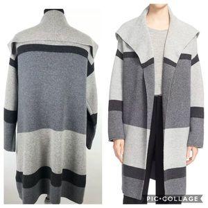 Vince Colorblock Striped Car Coat Cardigan Jacket